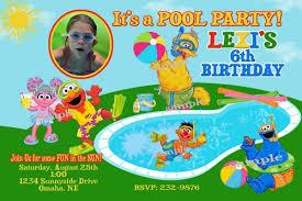 sesame street pool party birthday invitations printable swim party