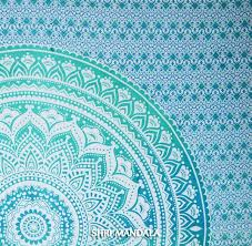 buy king size light green ombre hippie mandala quilt cover set at
