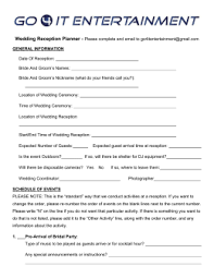 wedding reception planner wedding reception planner and dj contract