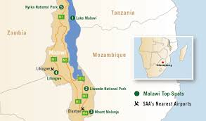 africa map malawi discover malawi south airways