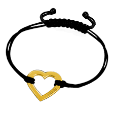 engraved jewelry 18 k gold sterling silver heart leather rope engraved