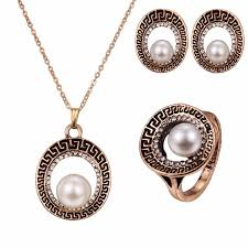 gold antique necklace sets images Vintage pearl jewelry sets for women antique gold full rhinestone jpg