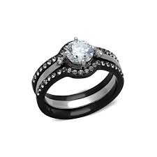 black stainless steel wedding rings 1 85 carats cz black stainless steel wedding ring set