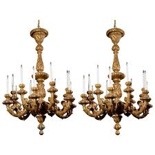 Antique Wood Chandelier Pair Of Late 19th Century Italian Gilded Wooden Chandeliers With