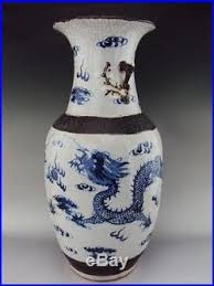 Blue And White Vases Antique Marked Huge Chinese Porcelain Oriental Antiques Dragon Blue And