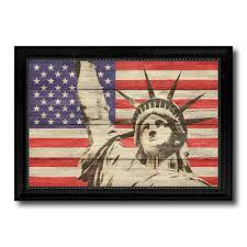 statue of liberty american flag texture canvas print with black