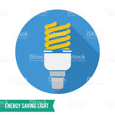 energy saving light vector fluorescent light bulb icon stock