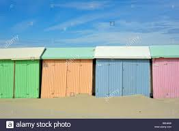 Pastel Colours Row Of Colourful Beach Cabins In Pastel Colours Along The North