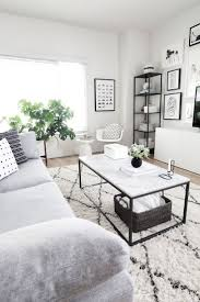 coffee table styling west elm rug living room neutral and grey