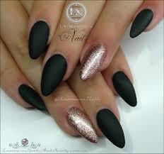 luminous nails matt black u0026 rose gold acrylic u0026 gel nails