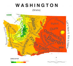 Seattle Area Code Map by Map Of Washington State Stereotypes According To Those In Seattle