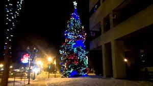 christmas led lights on tree beside city hall red deer ab youtube