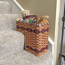 amish made small stair step basket for up to 7 1 2