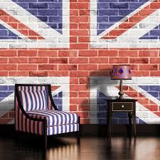 brick wall union jack flag wallpaper mural amazon com