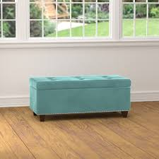 Aqua Storage Ottoman Handy Living Tufted Turquoise Blue Velvet Bench Storage Ottoman