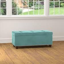Storage Ottoman Blue Handy Living Tufted Turquoise Blue Velvet Bench Storage Ottoman