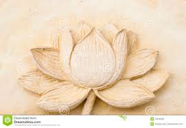 carving clay of lotus flower on wall stock photo image 33546884