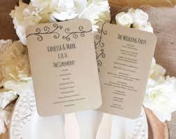 Kraft Paper Wedding Programs Printable Wedding Fan Program Diy Wedding Programs Kraft