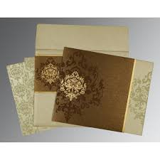indian wedding invitations usa brown shimmery damask themed screen printed wedding invitations