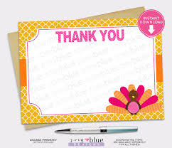 turkey blank thank you card orange fall thanksgiving baby shower