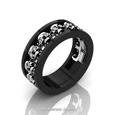 skull wedding rings mens modern 14k black and white gold diamond skull channel cluster