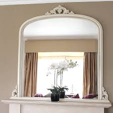 Decorative Mirrors White Beaded Edge Overmantel Fireplace Mirror Mirrors Online
