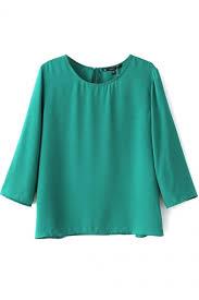 green chiffon blouse green 3 4 sleeve neck chiffon blouse beautifulhalo com