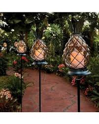 Solar Stake Garden Lights - sweet deal on outdoor tropical tiki glass pineapple pathway stake