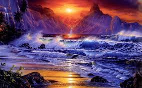 ocean explore wallpapers sunset ocean waves fantasy art artwork wallpaper download