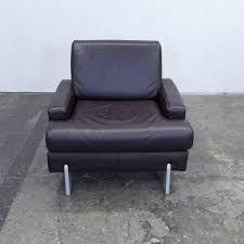 sofa leder rolf designer armchair leather brown one seat modern
