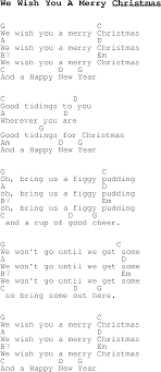 carol song lyrics with chords for we wish you a merry