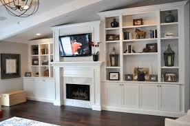 Living Room Cabinets by Fireplace Craftsman Living Room With Built In Cabinets And