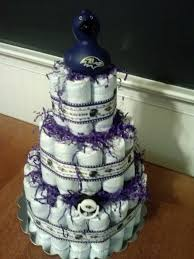 baltimore ravens diaper cake with rubber duck topper
