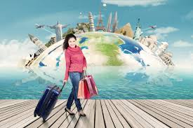 traveling around the world images Woman in winter clothes traveling around the world stock image jpg