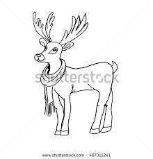 cute silhouette christmas deer rudolph scarf stock vector