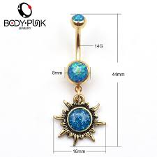 burnished gold sun piercings jewelry navel ring