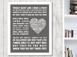 motley crue girls girls girls music song lyrics word art print
