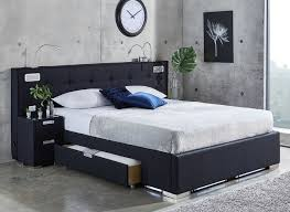 Blue Bed Frame Cole Midnight Blue Fabric Bed Frame With Sound System And