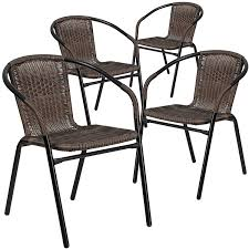 Patio Stack Chairs Flash Furniture 4 Pk Brown Rattan Indoor Outdoor