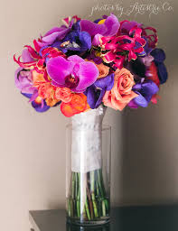 wedding flowers orchids bold colorful bridal bouquet carnivale wedding flowers chicago