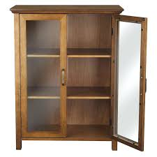 Wooden Cabinet With Glass Doors Wooden Storage Cabinets With Doors Alanwatts Info