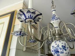 Blue Delft Chandelier Reserved For Jeanne I Delft Chandelier Blue White Pewter Vintage