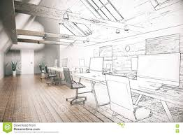 coworking office unfinished project stock illustration image