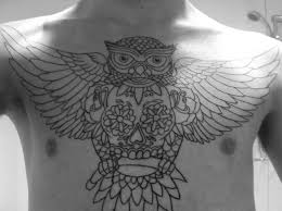 koi outline chest tattoos for outline chest owl