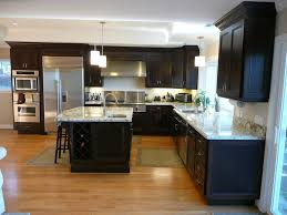 Red And Black Kitchen Cabinets Kitchen With Espresso Stained Cherry Cabinets Granite Counter