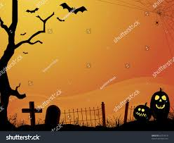 free halloween orange background pumpkin halloween orange sunset cemetery bats pumpkins stock vector