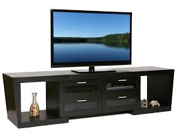 black solid wood console table for tv stand having cabinet storage