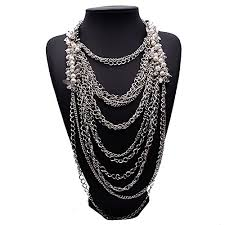 long chain choker necklace images Girl era modern gorgeous bling multilayer long chain necklace jpg