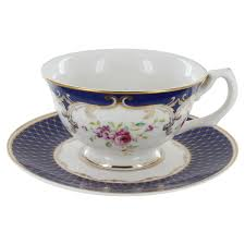 teacup and saucer navy porcelain teacup and saucer set