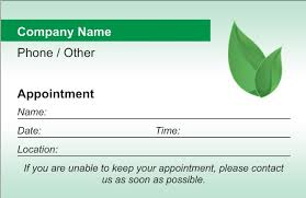 sample appointment card template patient appointment cards